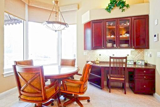 Formal dining area with the wooden furniture
